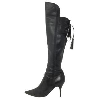 Sergio Rossi black leather stiletto boots