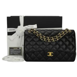 Chanel Black Lambskin Classic Double Flap Jumbo Bag