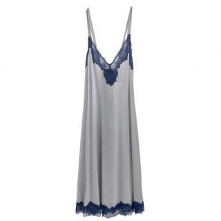 Cotton Club Soft Grey & Blue Leavers Lace Lounge Dress