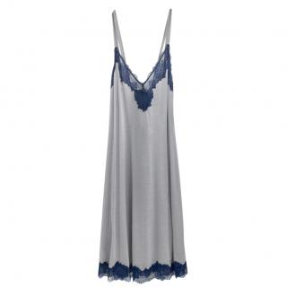 Cotton Club Soft Grey & Blue Leavers Lace Lounge Dress