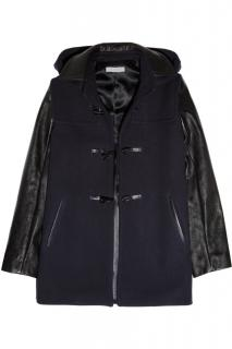 Sandro Navy & Black Hooded Wool Duffle jacket Coat leather sleeve sz36