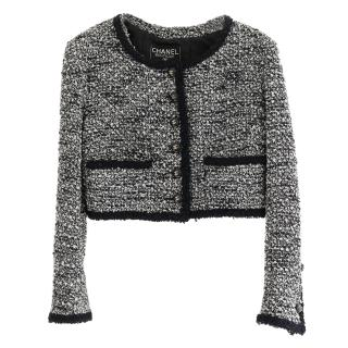 Chanel Vintage Navy & White Tweed Cropped Jacket