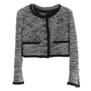 Chanel Vintage Navy & White Tweed Cropped Jacket