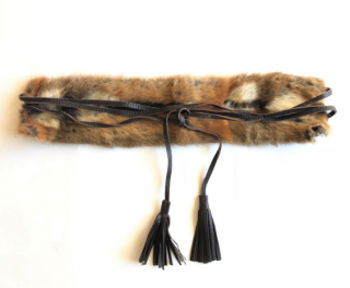 'S Max Mara dark brown leather and fur wrap belt