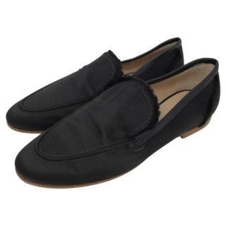 Giuseppe Zanotti Silk Frayed Black Loafers