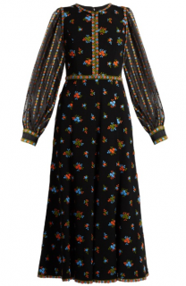 Andrew GN Floral-embroidered crepe dress