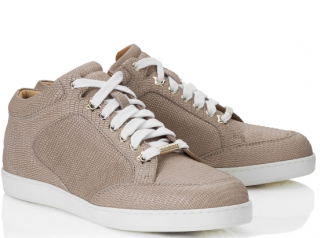 Jimmy Choo Miami Nude Glitter Printed Leather Low Top Trainers
