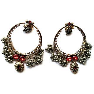 Alexander McQueen Red Crystal Creole Earrings