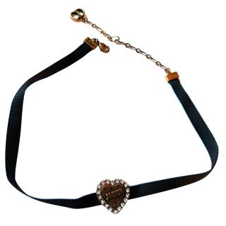 Christian Dior Black Antique Tone Crystal Heart J'Adior Choker