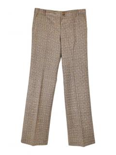 Etro check wool wide leg trousers