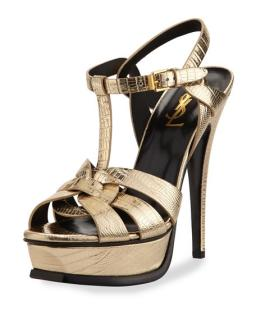 Yves Saint Laurent Gold Lizard Tribute Sandals