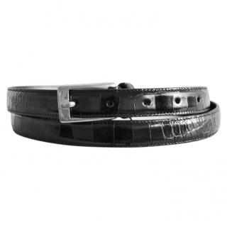Saint Laurent black leather croc embossed belt