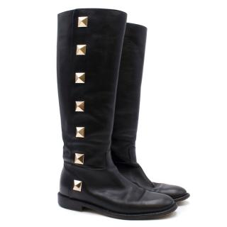 Valentino Rockstud Leather Knee-high Riding Boots