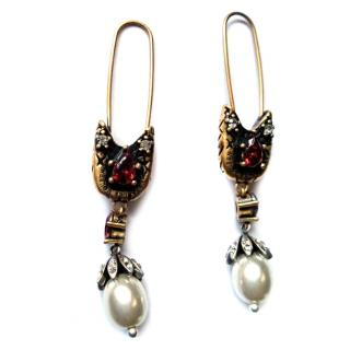 Alexander McQueen Red Crystal Pearl Embellished Safety Pin Hook Earrin