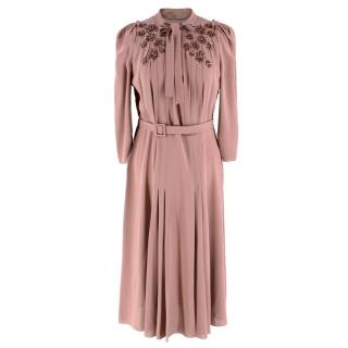 Bottega Veneta Pink Pussybow Midi Dress