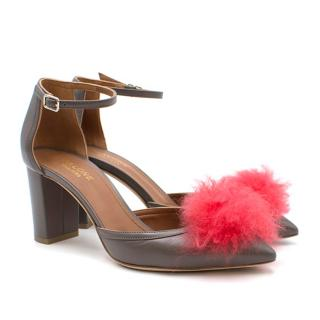 Malone Souliers Taupe Leather Pom Pom Pumps