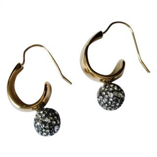 Alexis Bittar 14k Gold Plated Crystal Pave Ball Hoop Earrings