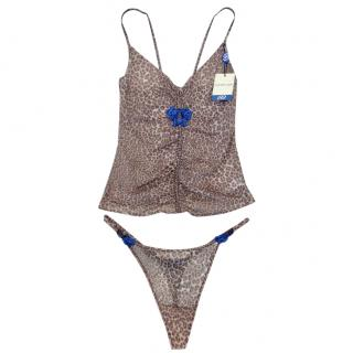 Cotton Club Couture Leopard Print Embroidered Camisole & Thong Set