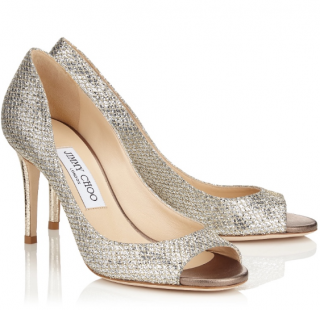 Jimmy Choo Peep Toe Glitter Isabel 85 Pumps