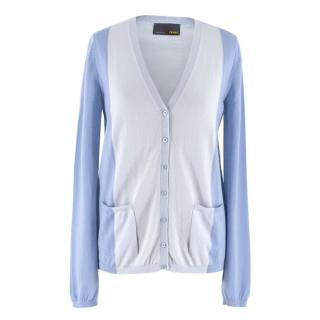 Fendi Blue Two Tone Cashmere Cardigan