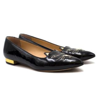 Charlotte Olympia Patent Leather Kitty Flats