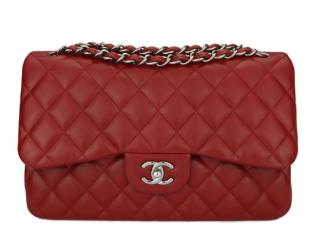 Chanel Lipstick Red Lambskin Double Flap Jumbo Bag