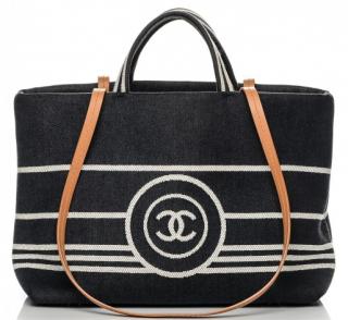Chanel denim shopping tote
