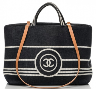 Chanel denim shopping tote