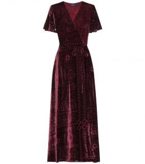 Ralph Lauren Burnout Velvet Wrap Dress