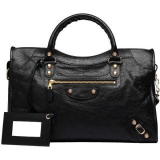 Balenciaga Giant 12 Gold City Black Lambskin Shoulder Bag