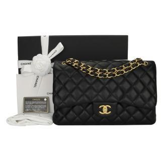 Chanel Black Lambskin Double Flap Jumbo Bag