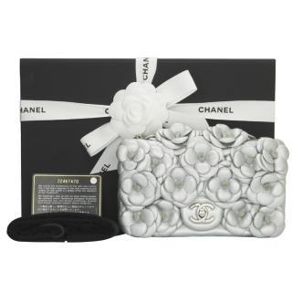 Chanel Silver Lambskin Camellia Mini Bag