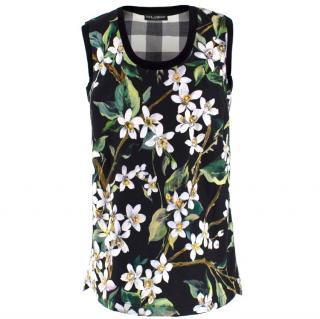 Dolce & Gabbana Black Floral Tank Top