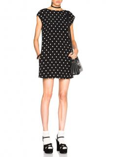 Saint Laurent Black Polka Dot Shift Mini Dress