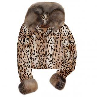 BLUMARINE leopard print fur hooded jacket