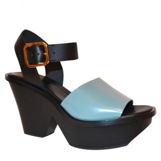 Marni Seafoam Leather Wedge Sandals