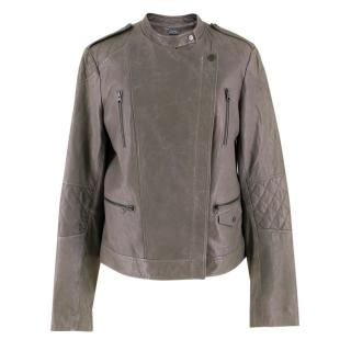 Vince Grey Leather Cross Front Jacket