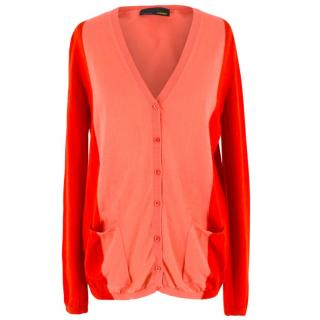 Fendi Red Two Tone Cashmere Cardigan