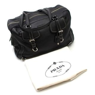 Prada Black Leather Travel Holdall