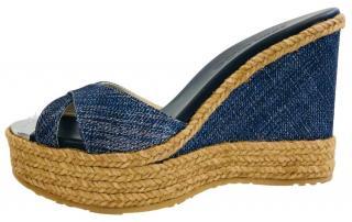 Jimmy Choo Denim Wedge Slide Sandals