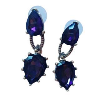 Oscar De La Renta Purple Crystal Stud Drop Earrings