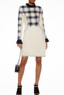 3.1 PHILLIP LIM Tartan plaid Paneled checked mini dress US8/UK12
