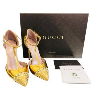 Gucci Studded Gold Metallic Leather Pump