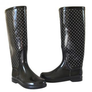 Dolce & Gabbana Black dotted Rain Rubber Boots