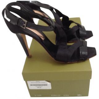 Rupert Sanderson Black Vernice Sandals EU 38.5