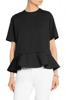 Victoria Victoria Beckham Poplin-trimmed cotton-jersey top