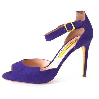 Rupert Sanderson Telita Magenta Purple Suede Sandals