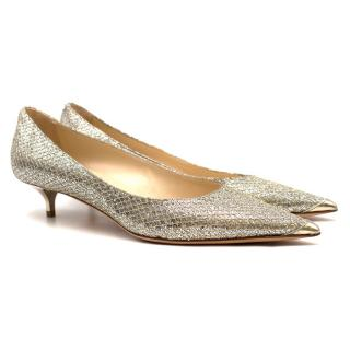 Jimmy Choo Glitter Pointed Kitten Heeled Pumps