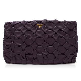 Prada Purple Leather Clutch