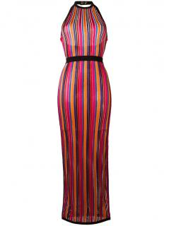 Balmain striped contrast trim dress